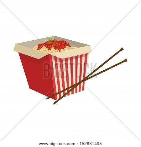 Noodles Street Food Menu Item Realistic Detailed Illustration. Take Away Lunch Icon Isolated On White Background.