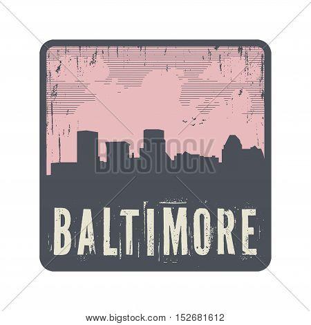 Grunge vintage stamp with text Baltimore vector illustration