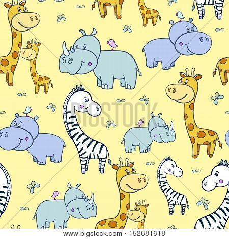 Seamless pattern with cute smiling Hippo and a bird on his head, Rhino, zebra, giraffe with spots on a yellow background.Cartoon hippopotamus.Vector illustration for children.Print for textile, paper.