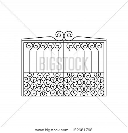 Metal Lattice Fencing Design. Forged Iron Lattice Park Fence Black And White Vector Template