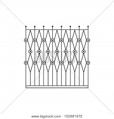Geometric Grid Fencing Design Forged Iron Lattice Park Fence Black And White Vector Template