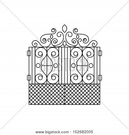 Classic Vintage Lattice Fencing Design Forged Iron Lattice Park Fence Black And White Vector Template