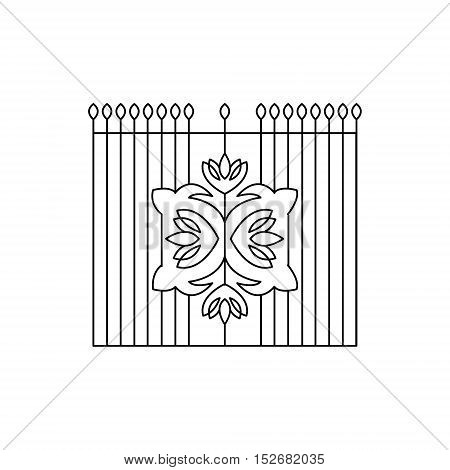 Metal Grid With Emblem Fencing Design Forged Iron Lattice Park Fence Black And White Vector Template