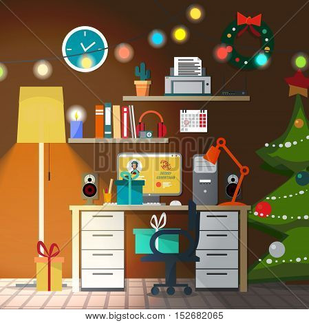 Christmas room interior with lampshade. Christmas tree, gift and decoration. Home desk with a chair and a computer. Flat cartoon vector illustration