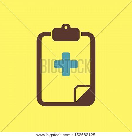Clipboard flat icon. Medical vector eps 10