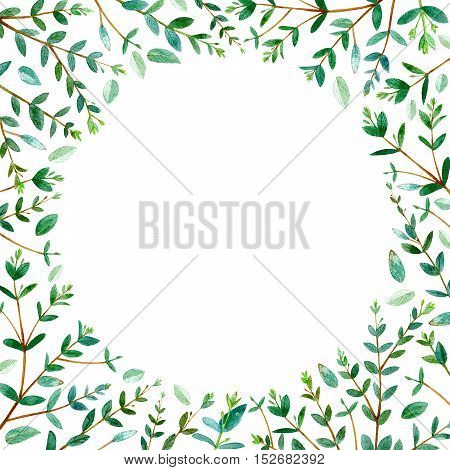 round frame with eucalyptus branches.green floral border.watercolor hand drawn illustration.