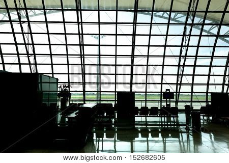 Empty airport silhouette