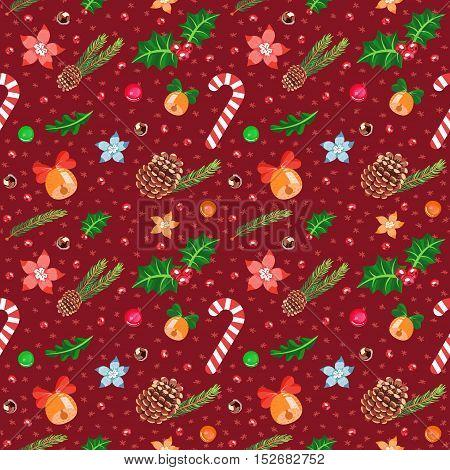 Christmas cartoon seamless vector pattern (dark red).