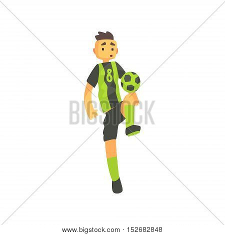 Football Player In Green Uniform Isolated Illustration. Flat Cartoon Character In Simple Childish Style Vector Drawing.