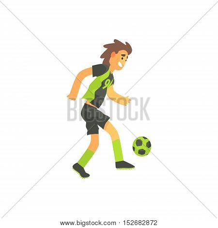 Football Player Running With Ball Isolated Illustration. Flat Cartoon Character In Simple Childish Style Vector Drawing.