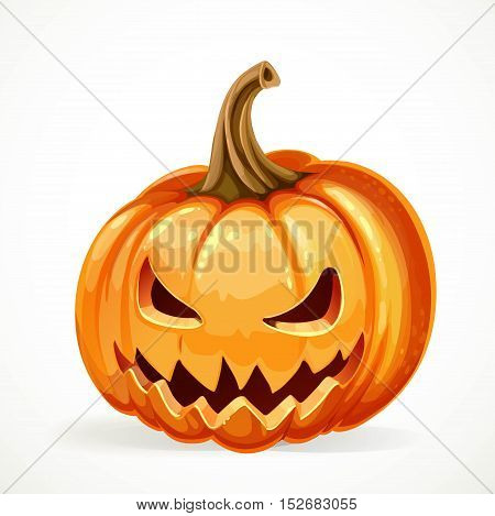 Halloween pumpkin with carved grin isolated on white background