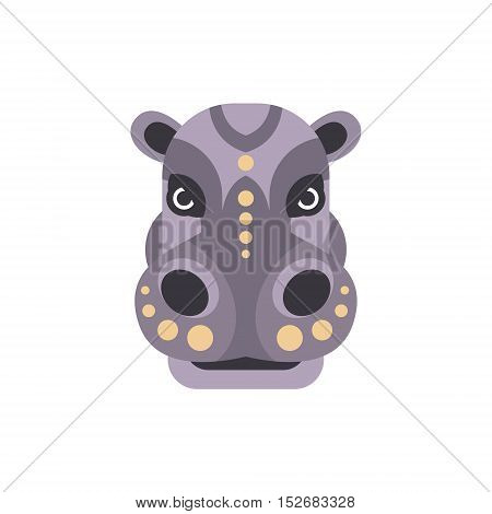 Hippo African Animals Stylized Geometric Head. Flat Colorful Vector Creative Design Icon Isolated On White Background