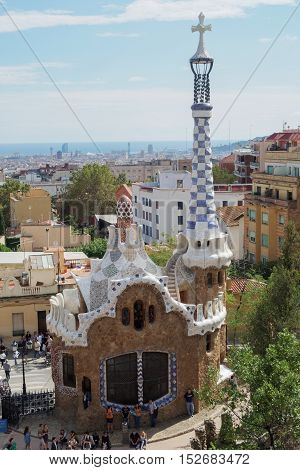 Barcelona, Spain - 24 September 2016: Park Guell Gaudi Laie building. Gaudi designed the house for the gatekeeper of the park. It currently serves as a Gaudi shop and bookshop.