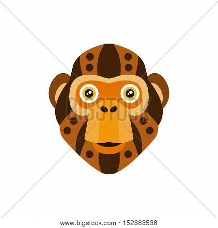 Chimpanzee African Animals Stylized Geometric Head. Flat Colorful Vector Creative Design Icon Isolated On White Background