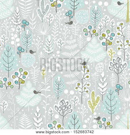 Forest seamless pattern with branches, trees, pine cones, shrubs, berries and birds. Christmas vector illustration in vintage style.