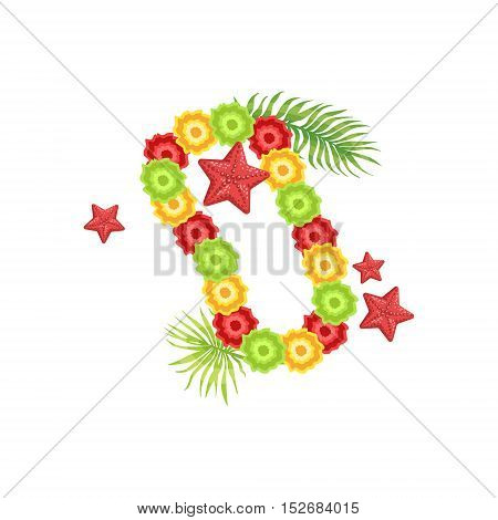 Floral Neck Garland Hawaiian Vacation Classic Symbol. Isolated Flat Vector Icon With Traditional Hawaiian Representation On White Bacground.