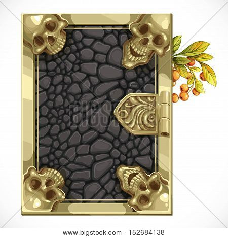 Antique Book Cover Shut With Black Leather Texture And Skulls In