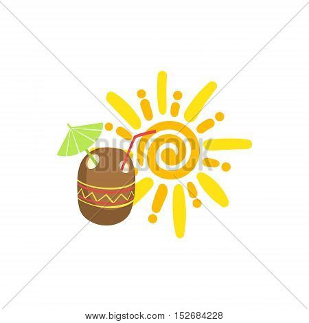 Tropical Cocktail And Sun Hawaiian Vacation Classic Symbol. Isolated Flat Vector Icon With Traditional Hawaiian Representation On White Bacground.