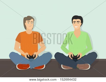 Computer game. Two guys are playing computer game wins and loses. Vector