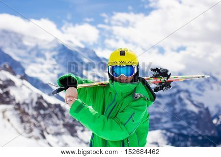 Child Skiing In The Mountains