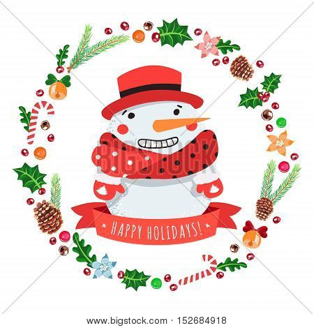 Happy holidays cartoon snowman in a red hat with Christmas wreath vector greeting card.