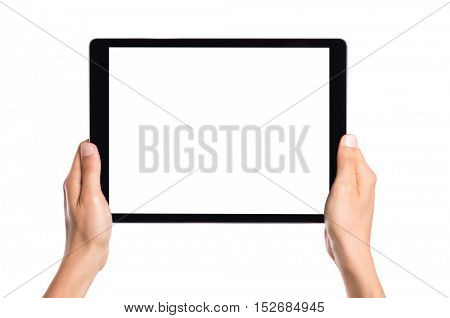Hand holding a tablet computer with white screen. Man hands showing empty screen of modern digital tablet. Hand holding tablet pc isolated on white background with blank screen.