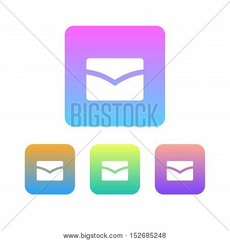 Colorful Set of Mail Logo or Icon. Gradation.