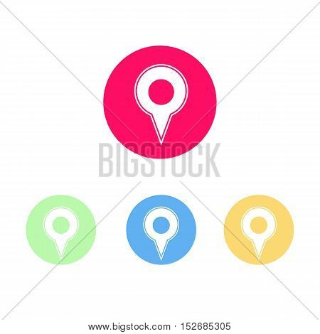 Colorful Set of Map Marker Logo or Icon