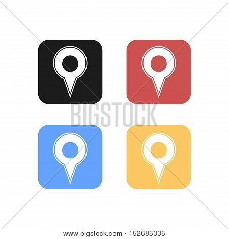 Colorful Set of Rounded Square Map Marker Logo or Icon