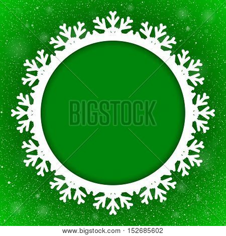 Vector Circle Frame Snowflake. Falling Snow. Green Winter Frame Background. Winter Snowfall. Holidays New Year and Merry Christmas.