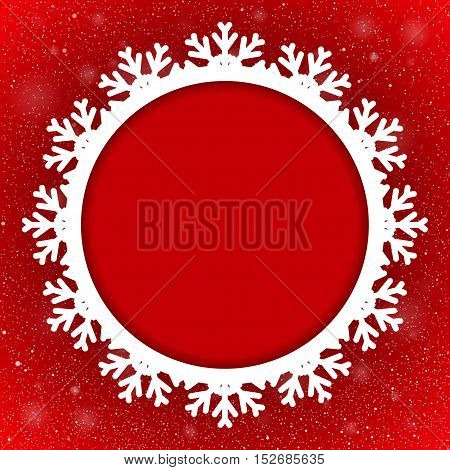 Vector Circle Frame Snowflake. Falling Snow. Red Winter Frame Background. Winter Snowfall. Holidays New Year and Merry Christmas.