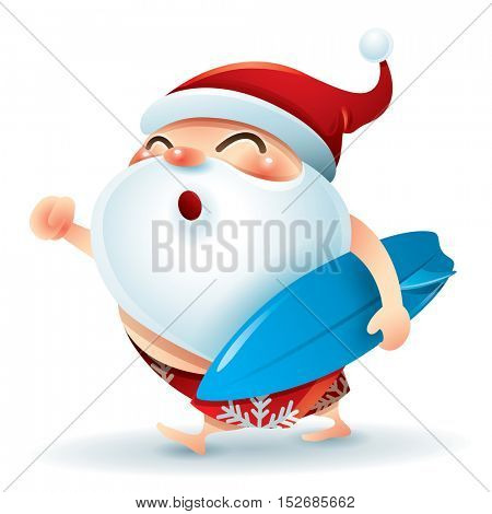 Santa Claus wearing swimsuit holding a surfer board