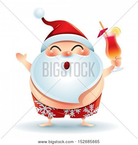 Santa Claus wearing swimsuit chilling out with cocktail