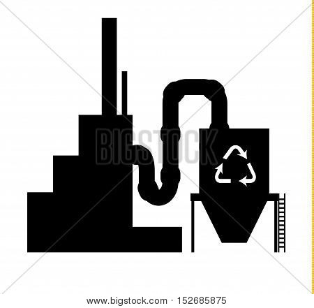 Industry icon recycling plant silhouette in black on white background
