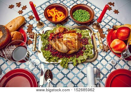 Roasted Chicken, Table Setting. Thanksgiving Table Served With Baked Turkey, Decorated With Lettuce