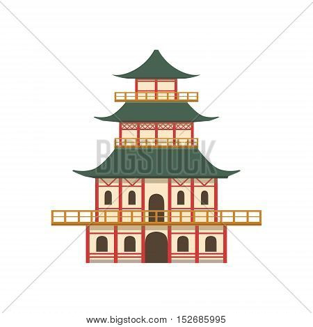 Pagoda Japanese Culture Symbol. Isolated Object Representing Japan On White Background