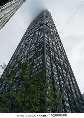 Chicago USA - September 25 2015: skyscraper disappearing in the fog