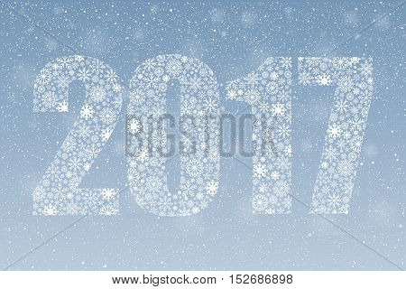 2017 background of snowflakes. Number text of symbol year 2017. Illustration in vector format.