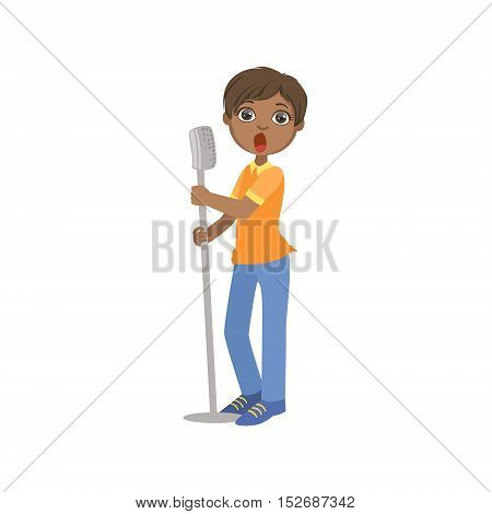 Boy In Blue Pants Singing In Karaoke. Bright Color Cartoon Simple Style Flat Vector Sticker Isolated On White Background