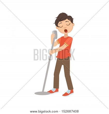 Boy In Red T-shirt Singing In Karaoke. Bright Color Cartoon Simple Style Flat Vector Sticker Isolated On White Background