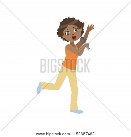 Boy In Sleeveless Top Singing In Karaoke. Bright Color Cartoon Simple Style Flat Vector Sticker Isolated On White Background