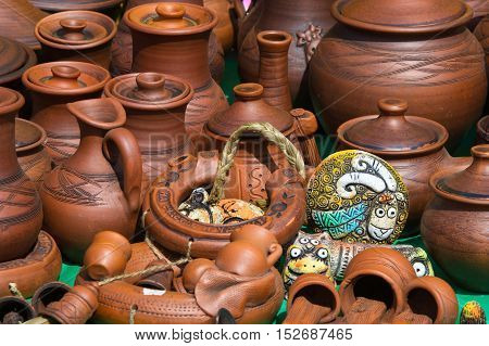 Texture, Background. Pottery. Pots, Dishes, And Other Articles Made Of Earthenware Or Baked Clay. Po