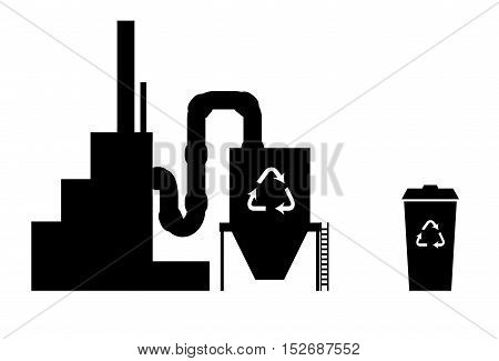 Industry icon recycling plant silhouette in black on white with recycle bin
