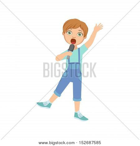 Boy In Dungarees Singing In Karaoke. Bright Color Cartoon Simple Style Flat Vector Sticker Isolated On White Background