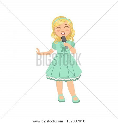 Blond Girl Singing In Karaoke. Bright Color Cartoon Simple Style Flat Vector Sticker Isolated On White Background