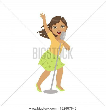 Girl In Green Skirt Singing In Karaoke. Bright Color Cartoon Simple Style Flat Vector Sticker Isolated On White Background
