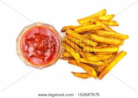 Homemade fast food portion of french fries and ketchup isolated on white background top view