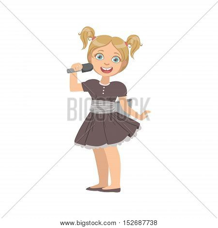 Girl In Black Dress Singing In Karaoke. Bright Color Cartoon Simple Style Flat Vector Sticker Isolated On White Background