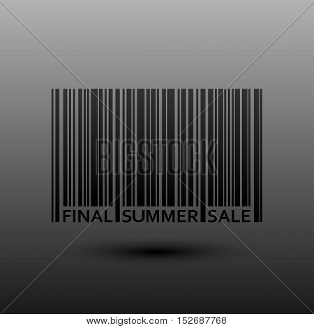 Vector abstract barcode. Summer final sale. Eps 10. Black bars of varying sizes.