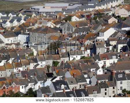 View from Portland over the village of Chesil Dorset England UK